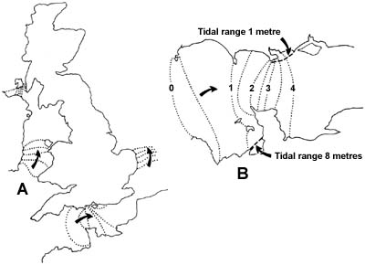 18. Lines connecting points at which high water occurs at the same times.  A:Note the long delays over short stretches of coast in East Anglia, Dorset, south-east Eire and the island of Isla (dotted lines show hourly differences).  B:Details of tidal advance up the English Channel (dotted lines show half-hour differences).