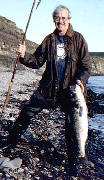 A 12½-pound bass taken by spinning from a rocky shore.